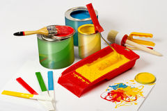 Paint can and brush Stock Image