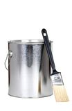 Paint can and brush. Isolated paint can and brush on white background Royalty Free Stock Image