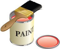Paint Can and Brush. Layer-separated illustration of an open paint can with brush sitting on top Stock Images