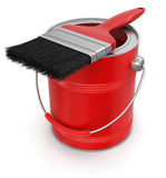 Paint can with brush (clipping path included) Royalty Free Stock Photos