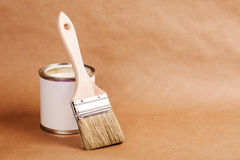 Paint can with brush Royalty Free Stock Photo