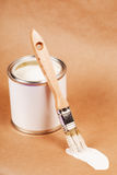 Paint can with brush stock photography