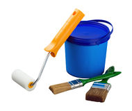 Paint can and brush and roller stock photos