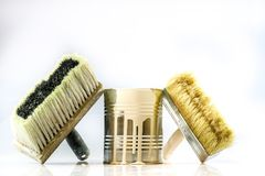 Paint can and brushes on a white background. Paint and repair ac Royalty Free Stock Images
