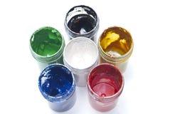 Paint can color palette. Paint used can color palette Stock Photos