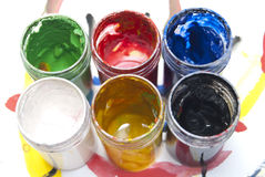 Paint can color palette. Paint used can color palette Stock Image
