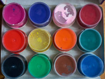 Paint can color palette. Top view Stock Image
