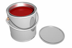 Paint can and cover (3D) Royalty Free Stock Images