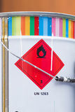 Paint can with danger sign Stock Images
