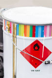 Paint can with danger sign Stock Photos