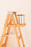 Paint Can on Ladder Stock Photo