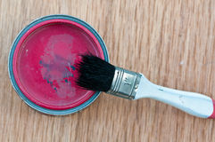 Paint can with old brush Stock Photos