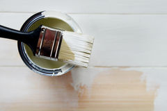 Paint Can and Paint Brush from above Royalty Free Stock Images