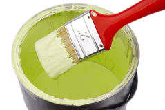 Paint can and paint brush Stock Images