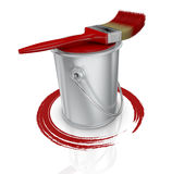 Paint can and paintbrush Royalty Free Stock Images