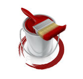 Paint can and paintbrush. Top view of a paint can with a red paintbrush and a brush stroke (3d render Stock Image