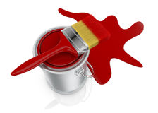 Paint can and paintbrush Stock Photography