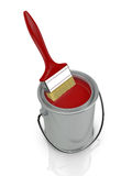 Paint can and paintbrush Royalty Free Stock Photography