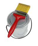 Paint can and paintbrush Stock Images