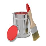 Paint Can and Paintbrush. Royalty Free Stock Photos