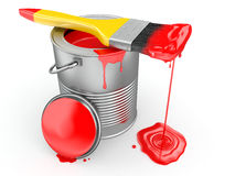 Paint can and paintbrush. 3d. Paint can and paintbrush on white background. 3d Royalty Free Stock Image