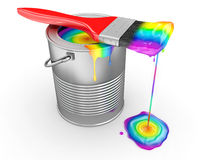 Paint can and paintbrush in colors of the rainbow. 3d Stock Photos