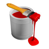 Paint can and paintbrush Stock Photos
