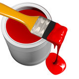 Paint can and paintbrush Stock Photo