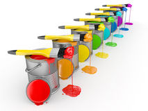 Paint can and paintbrush in  rainbow colors Royalty Free Stock Image