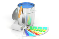 Paint can, palette and roller brush. 3D rendering. On white background Stock Photo