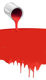 Paint can pouring dripping red on white. Paint can pouring dripping red paint on white background Stock Image