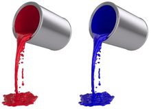 Paint can pouring out. 3D computer illustration on white background Stock Photo