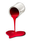 Paint can pouring red heart symbol Stock Photos