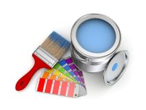 Paint can. Realistic 3d rendered brush and colour sampler Stock Photography
