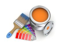 Paint can. Realistic 3d rendered brush and colour sampler Royalty Free Stock Photo