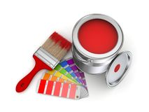 Paint can. Realistic 3d rendered brush and colour sampler Stock Photos