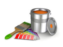 Paint can. Realistic 3d rendered brush and colour sampler Royalty Free Stock Images