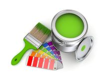 Paint can. Realistic 3d rendered brush and colour sampler Stock Photo