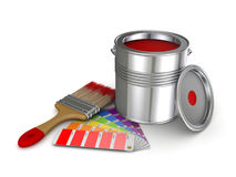 Paint can. Realistic 3d rendered brush and colour sampler Royalty Free Stock Image