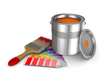 Paint can. Realistic 3d rendered brush and colour sampler Stock Images