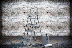 Paint can with roller brush and Ladder Royalty Free Stock Photo