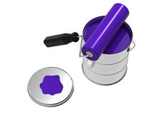 Paint can and roller, 3d rendering Stock Images