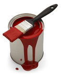 Paint Can Spill. Red Latex Paint Spilled with Brush Isolated on White Background Royalty Free Stock Photo