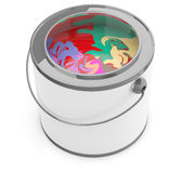 Paint can with various colors Royalty Free Stock Image