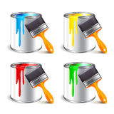 Paint can  on white vector. Paint can and brush  on white photo-realistic vector illustration Royalty Free Stock Photos