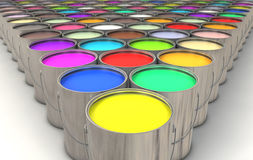 Paint Cans. An infinite array of paint cans filled with colorful paint stock image