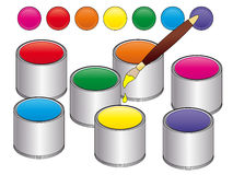 Paint cans. Illustration of colorful paint cans Stock Photos