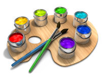 Paint cans. Paint palette with paint cans and brushes - 3d render Stock Photos