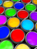 Paint cans. Illustration of paint cans with all colors - 3d render Royalty Free Stock Photo