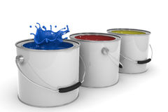 Paint cans. 3D image of three paint cans isolated on white Stock Photos